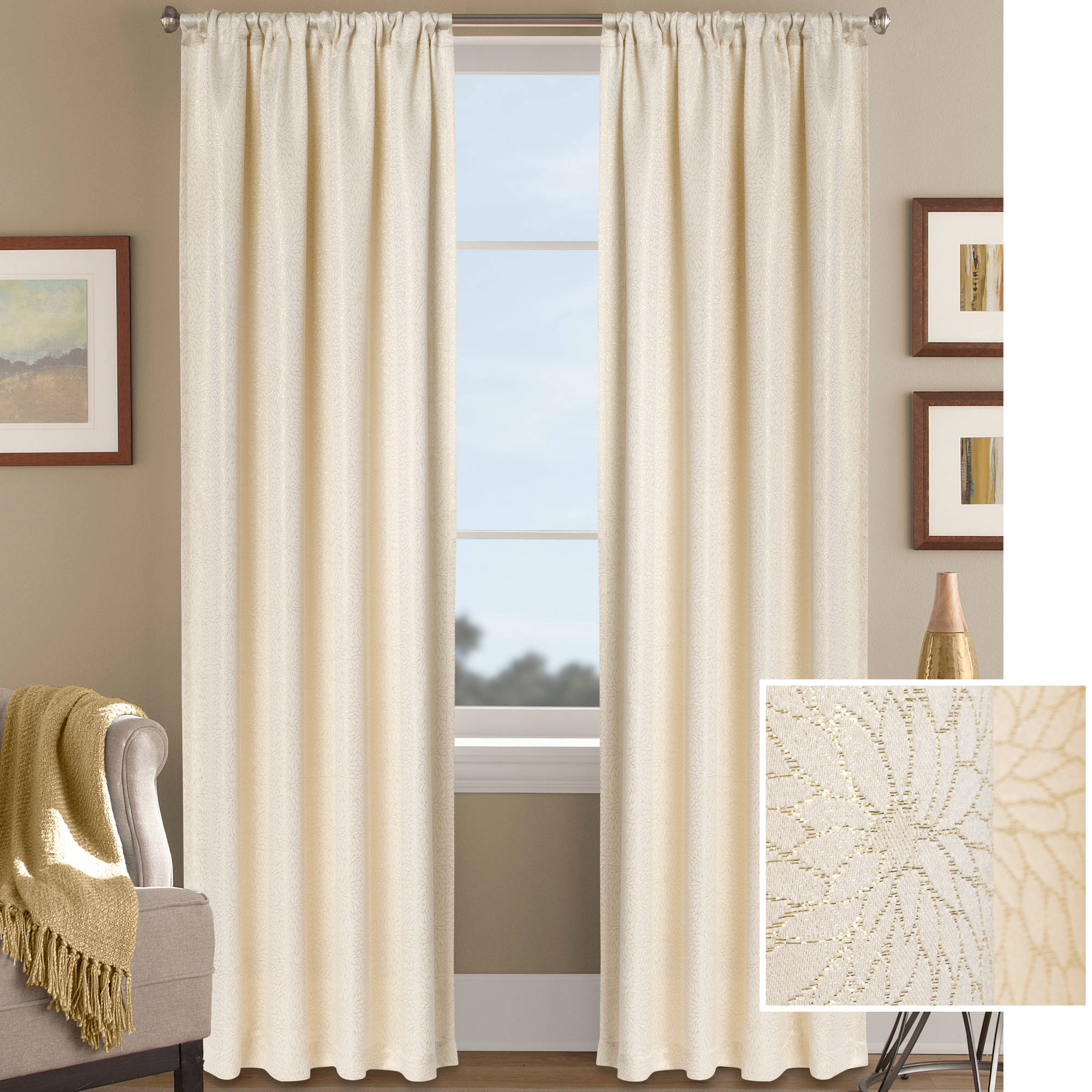 Better Homes and Gardens Metallic Floral Shimmer Jacquard Curtain Panel