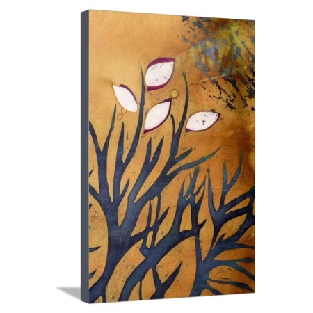 Tree Branches with Leaves on Gold Background, Hot Batik, Background Texture, Handmade on Silk, Abst Stretched Canvas Print Wall Art By Sergey Kozienko