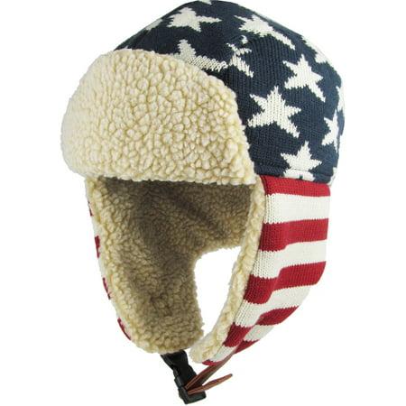 Original Flag USA Aviator Trapper Hat Winter Cap Ski Warm Fur Cap - Uta Caps
