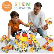 Toy to Enjoy STEM Learning Model Toy Set for Kids – Builds Car, Excavator, Bike, Airplane & Helicopter – DIY Building Kits for 8, 9, 10 Year Old Kids | 5, 6, 7 yr Old can Build with Help (204 Pieces)
