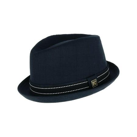 Men's Upturned Brim Fedora with Hatband,  Navy (Fedora Man)