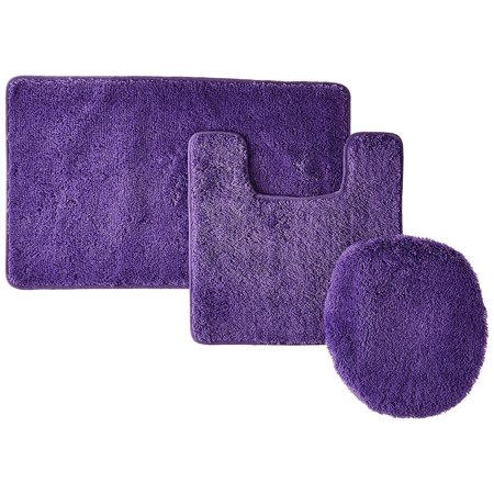 3pc 6 Purple Banded Bathroom Set Bath Mat Countour Rug