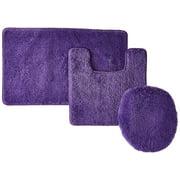 3 Piece Hailey Solid Bathroom Set Bath Mat Contour Rug Toilet Lid Cover Purple