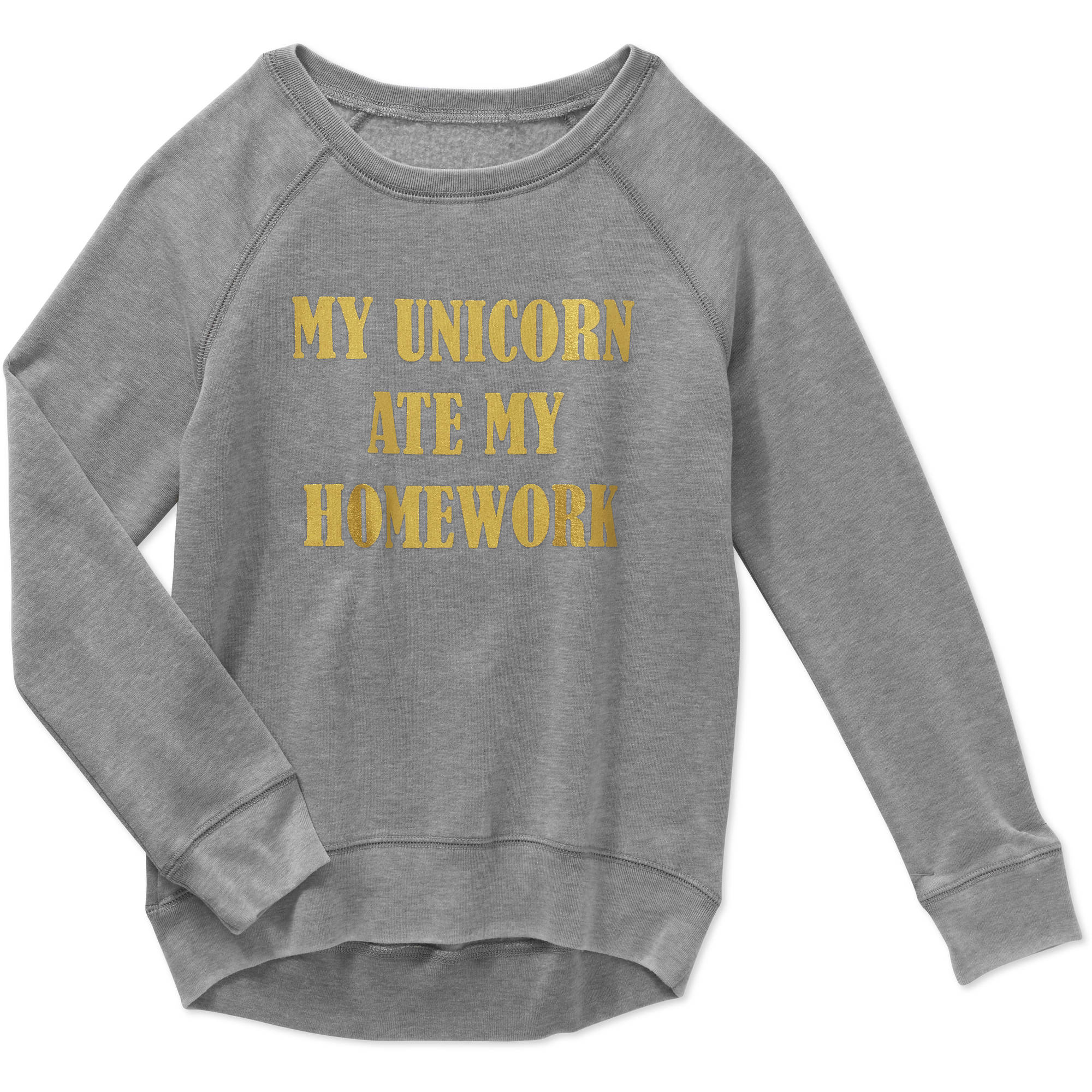 Gems And Jets Girls' Long Sleeve Crew Neck My Unicorn Ate My Homework Graphic Foil Pull Over Sweatshirt