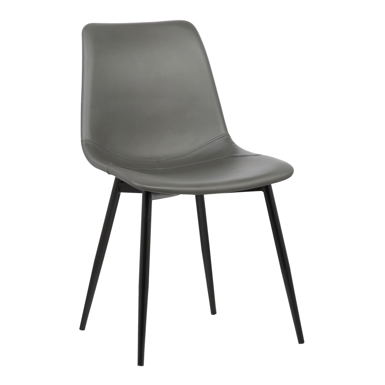 Merveilleux Armen Living Monte Contemporary Dining Chair In Gray Faux Leather With  Black Powder Coated Metal Legs