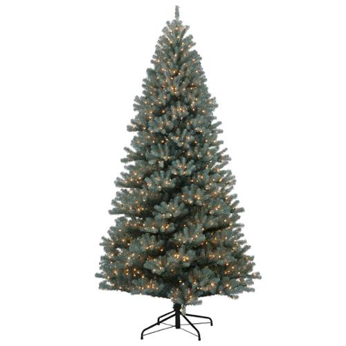 12' Medium Blue Crystal Pine Artificial Christmas Tree - Clear Dura Lights