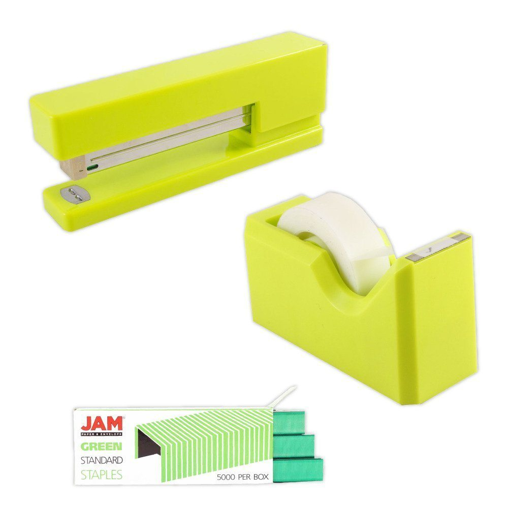 JAM Paper Office U0026 Desk Sets, 1 Tape Dispenser 1 Stapler 1 Pack Of Staples
