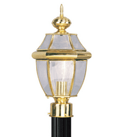 Outdoor Post 1 Light With Clear Beveled Solid Polished Brass size 8.5 in 100 Watts - World of Crystal