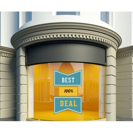 100% Best Deal Ribbon Banner Wall Decal - Vinyl Decal - Car Decal - Idcolor040 - 25