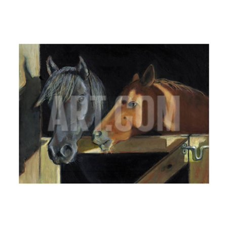 Horse Stall Gate - Two Horses At The Stall Gate Print Wall Art By joylos