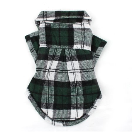 Dog Jacket Pattern (Pet Dog Cotton Blend Grid Pattern T-Shirt Lapel Vest Jacket Clothes Green Size S)