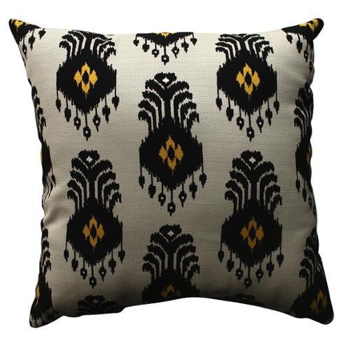 "18"" Flor Nativa Light Beige, Navy Blue and Yellow Ikat Decorative Throw Pillow"