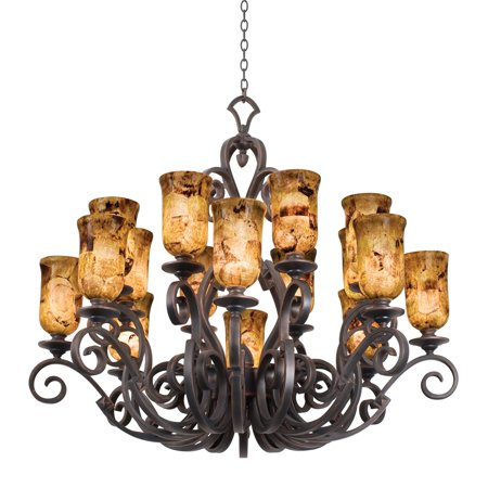 """Chandeliers 16 Light Bulb Fixture With French Cream Finish Hand Forged Iron E26 Ecru Glass 50"""" 1600 Watts"""