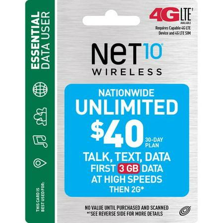 Net10 Wireless  40 30 Day Plan Prepaid Phone Card