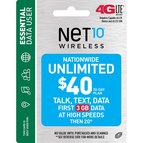 NET10 Wireless $40 30-Day Plan Prepaid Phone Card