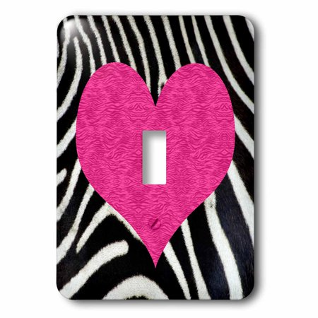 3dRose Punk Rockabilly Zebra Animal Stripe Pink Heart Print - Single Toggle Switch (lsp_20393_1)