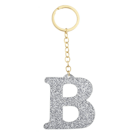Lux Accessories Gold Tone And Silver Glitter Capital B Initial Key Ring Keychain