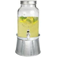 Estilo Glass Mason Jar Beverage Drink Dispenser With Ice Bucket Stand And Leak Free Spigot, 1.5 Gallon