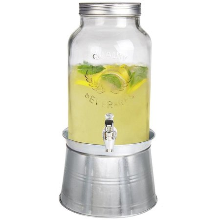 (Estilo Glass Mason Jar Beverage Drink Dispenser With Ice Bucket Stand And Leak Free Spigot, 1.5 Gallon)