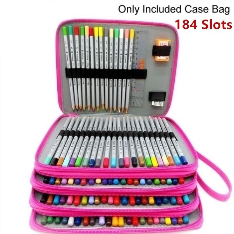 Falytemow 184 Slots Colored Pencil Case PU Leather Color Pencil Organizer Large Capacity Carrying Bag for Prismacolor Watercolor Pencils Black, 184 Crayola Colored Pencils Marco Pens