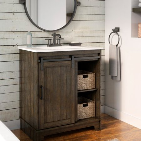 Gracie oaks schlesinger sliding barn door single - Sliding barn door bathroom vanity ...