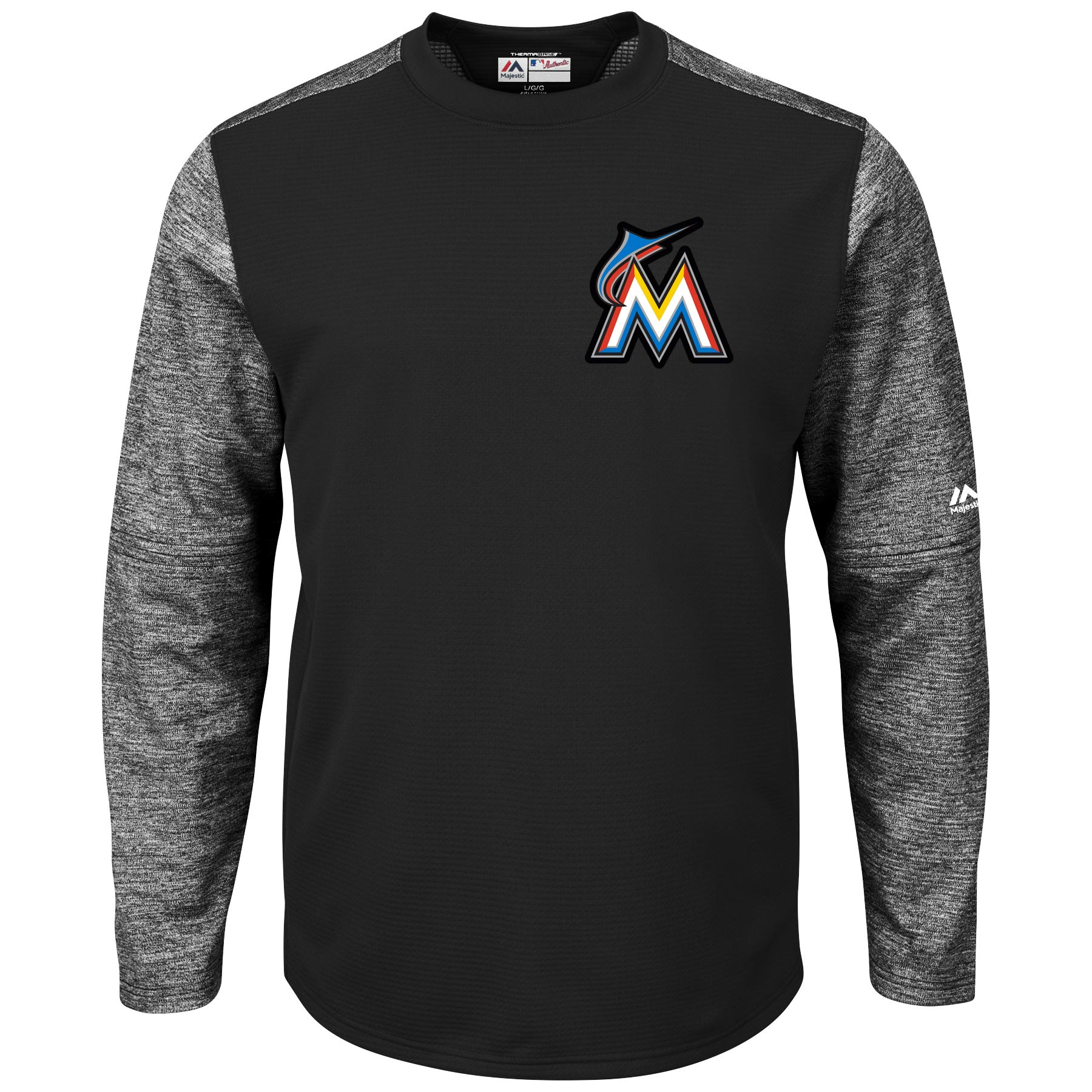 Miami Marlins Majestic Authentic Collection On-Field Tech Fleece Therma Base Pullover Sweatshirt - Black