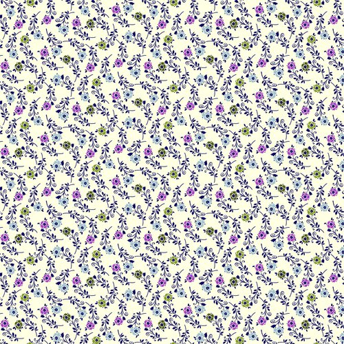 Heritage Tossed Flowers Fabric, Cream