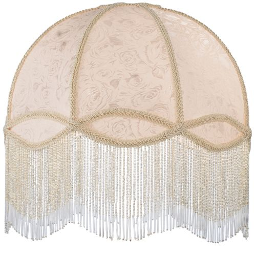 "Meyda Tiffany 17361 16.5"" W Fabric & Fringe Ivory Dome Replacement Shade"