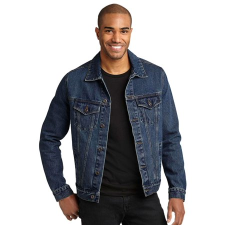 Denim Jacket Set (Port Authority Men's 100% stonewashed indigo Denim Jacket )