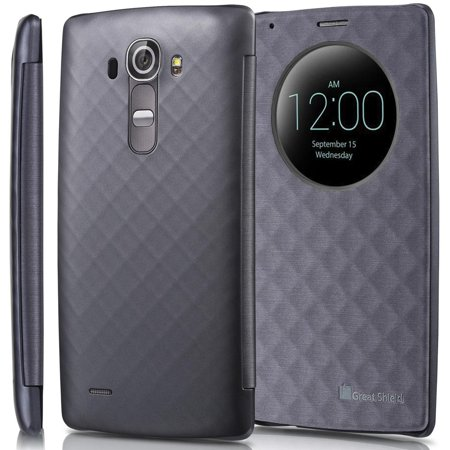 Metallic Leather Ankle Wrap - GreatShield SHIFT LX PU Leather Quick Circle Window + Sleep/Wake Function Case Cover for LG G4 - Metallic Gray