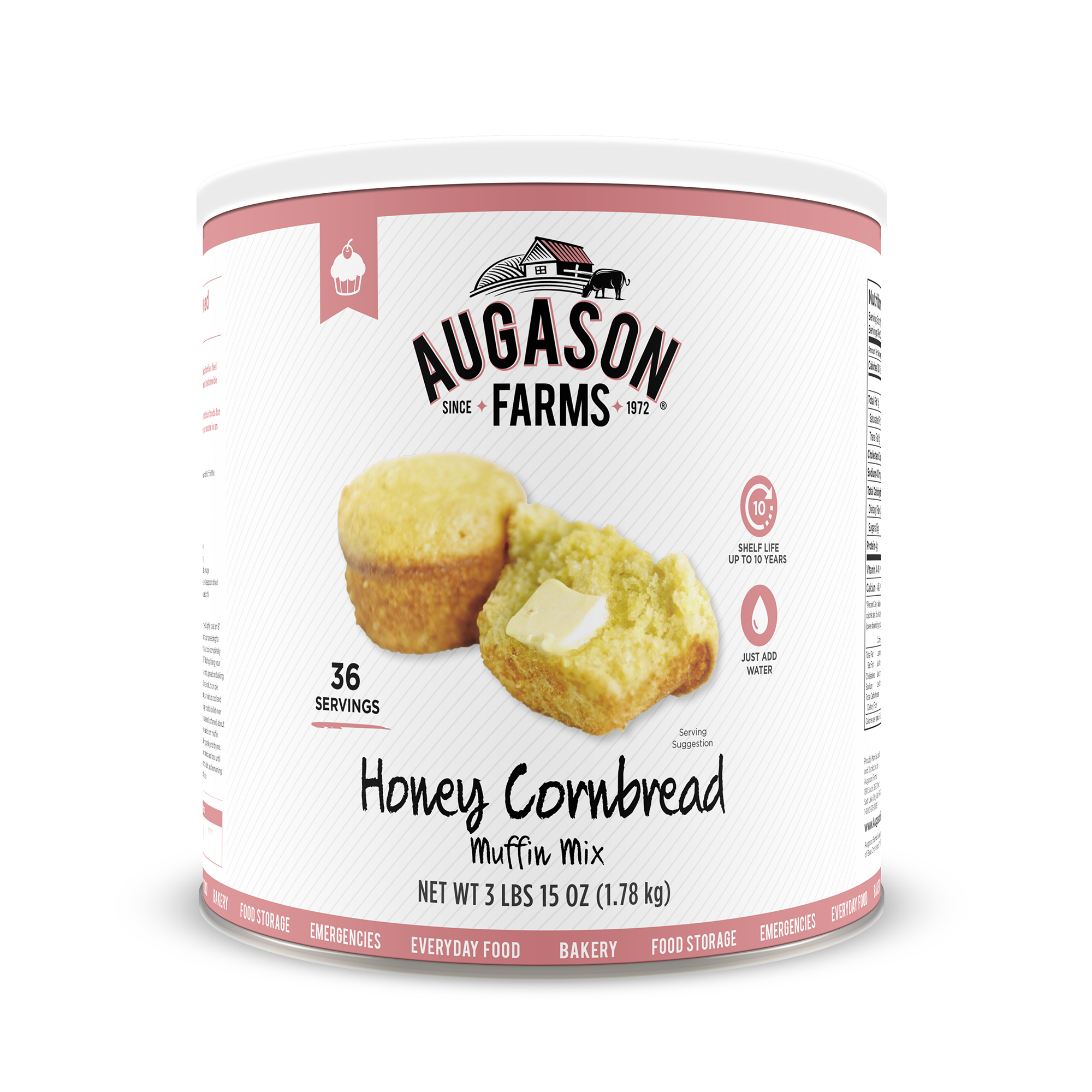 Augason Farms Honey Cornbread Muffin Mix 3 lbs 15 oz No. 10 Can