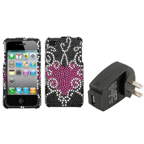 Insten Trapped Heart Diamante Case For iPhone 4 4S + USB Travel Charger Adapter