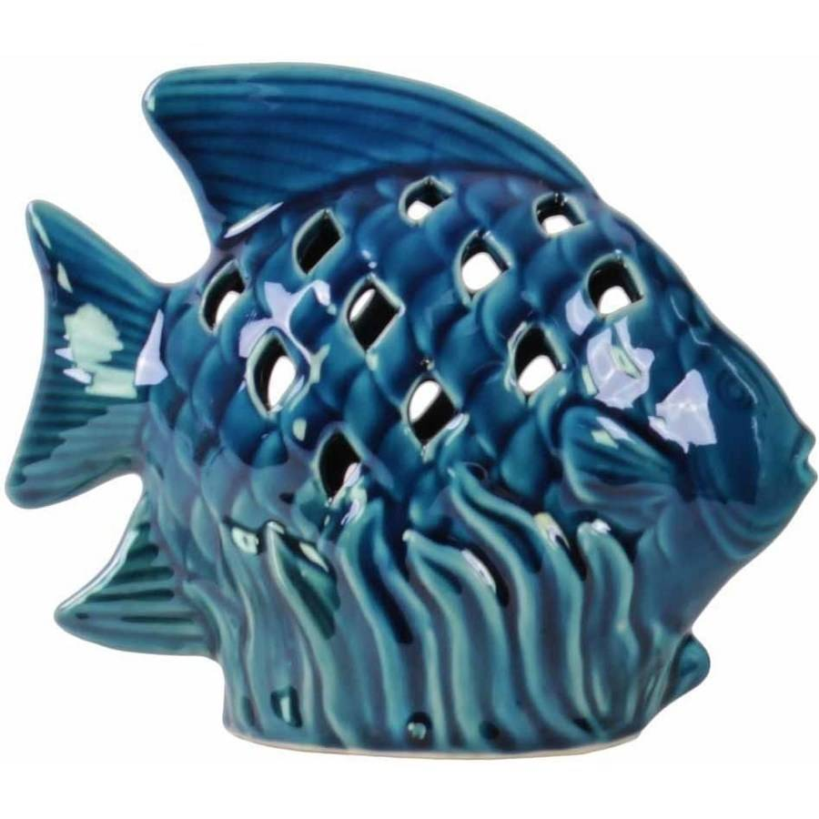 Urban Trends Collection: Ceramic Fish Figurine, Gloss Finish, Blue