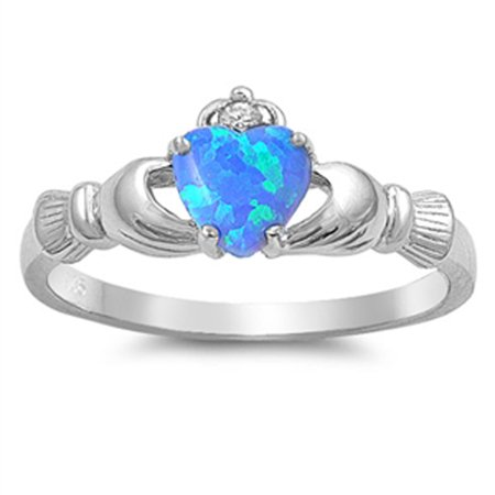 CHOOSE YOUR COLOR Sterling Silver Women's Claddagh Friendship Blue Fire Ring Band
