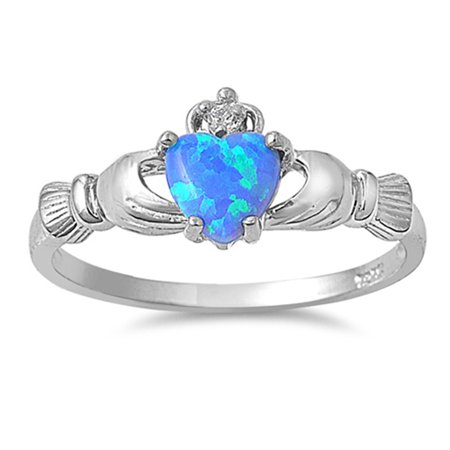 - CHOOSE YOUR COLOR Sterling Silver Women's Claddagh Friendship Blue Ring Band (Blue Simulated Opal/Ring Size 8)