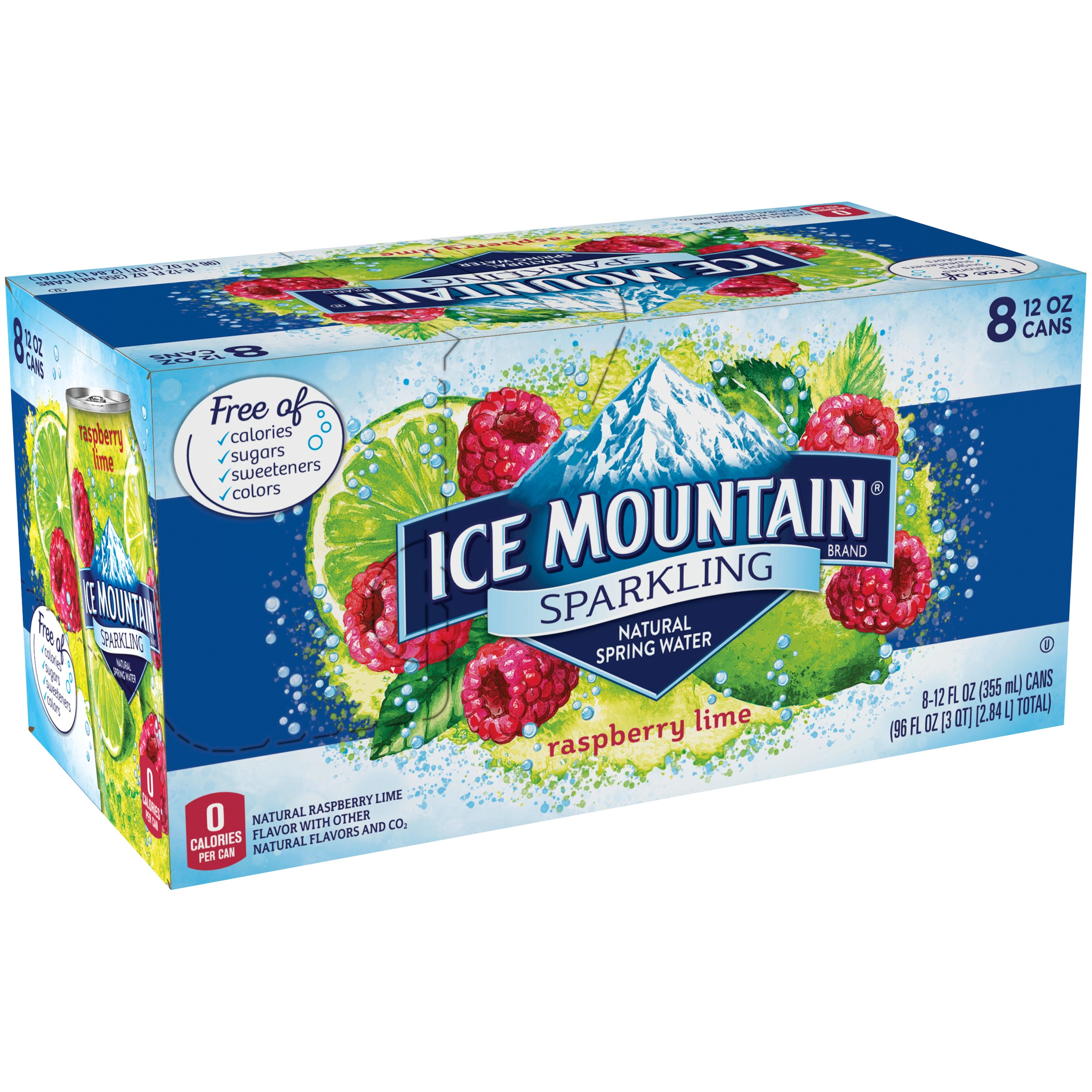 Ice Mountain Sparkling Water, Raspberry Lime, 12 oz. Cans (Pack of 8)