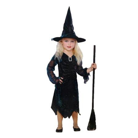 Seasons Girls Black & Blue Hologram Witch Costume with Dress & Hat (Halloween Hologram)