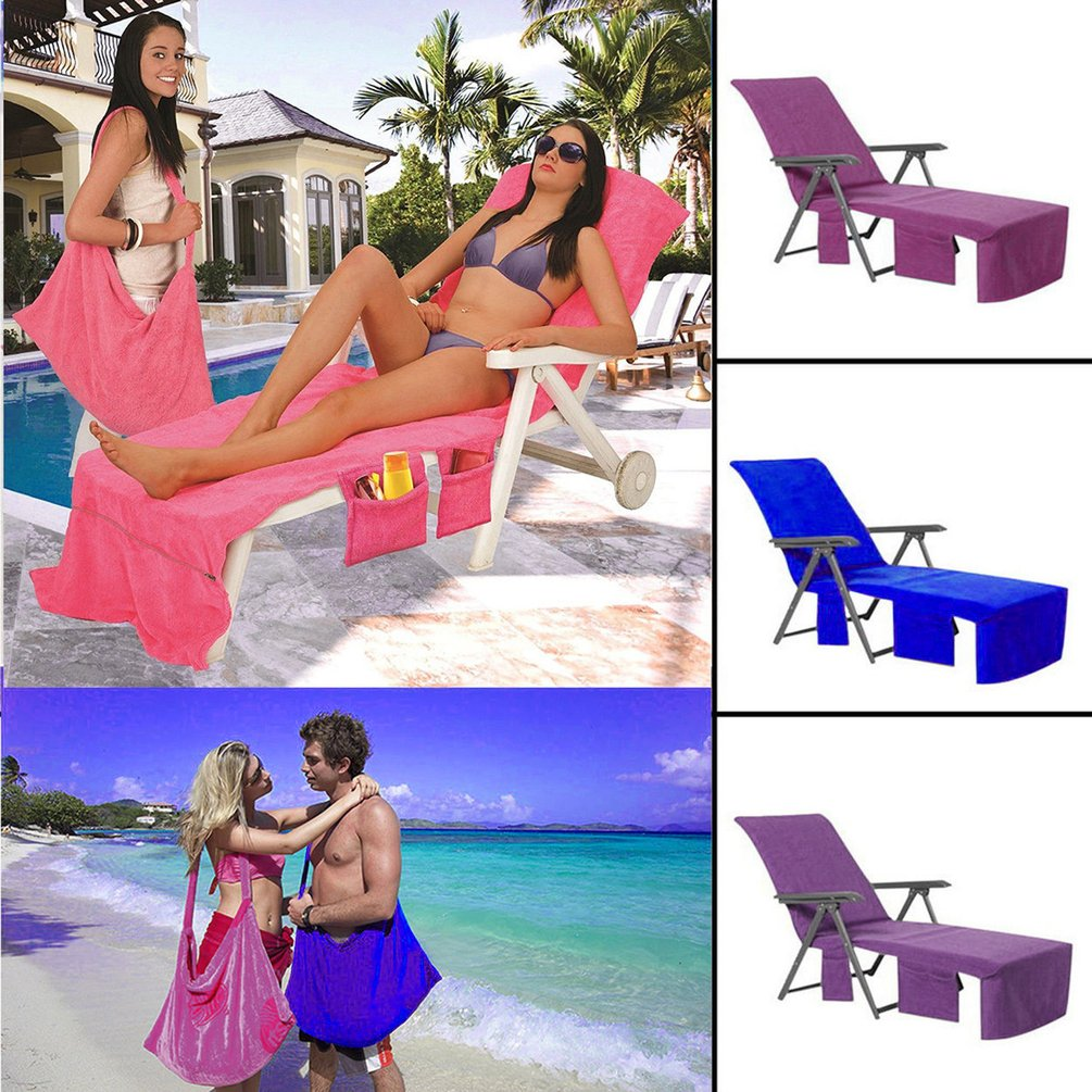 Lounger Mate Beach Towel Double Layers Sunbath Lounger Bed Chair Cover Towels by