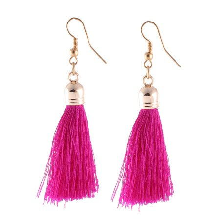 Woman Metal Hook Polyester Tassel Decoration Earbobs Earrings Fuchsia (Metal Earring Hooks)