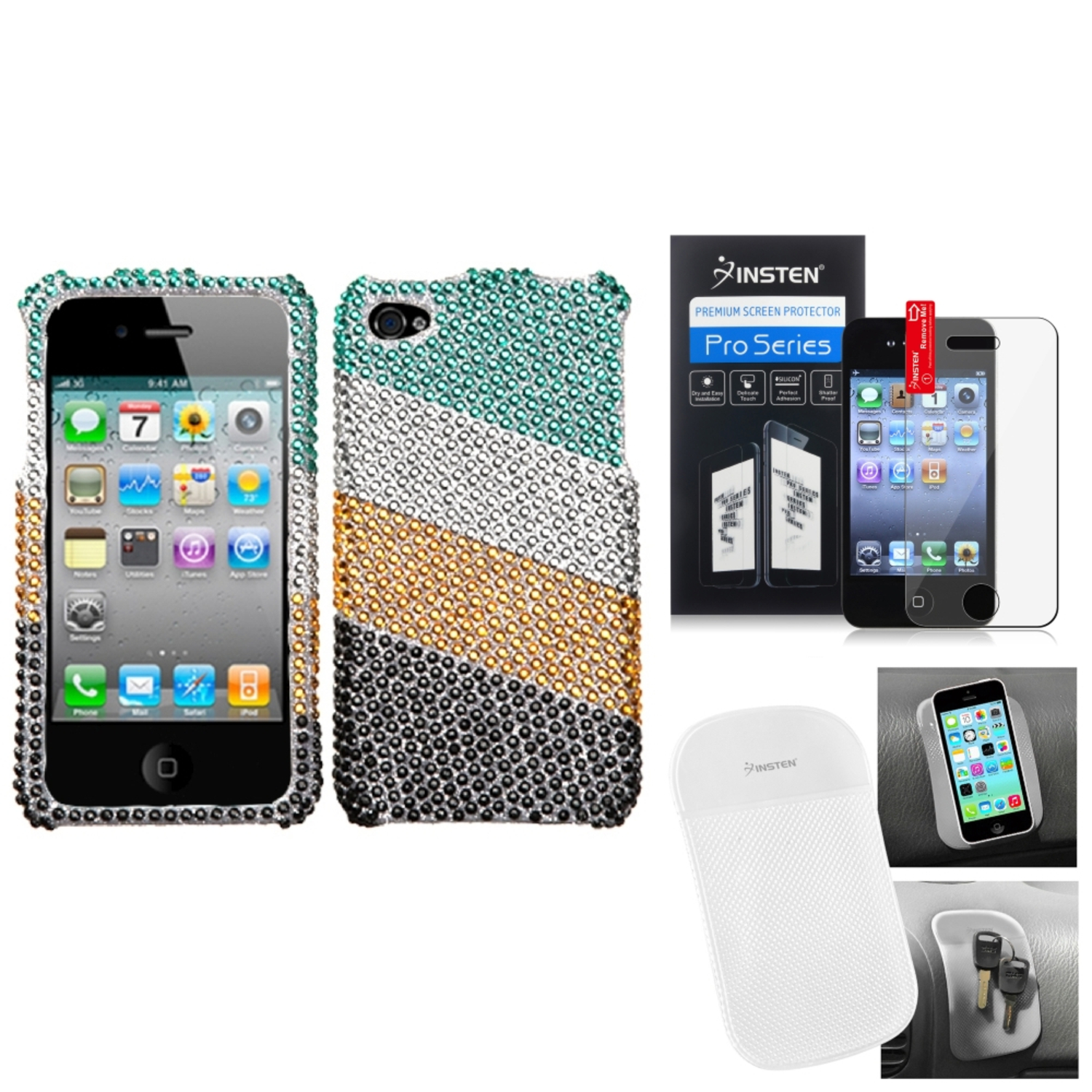 Insten Film+Mat+Green/Silver Stripes Diamante Phone Protector Case For Apple iPhone 4G 4S