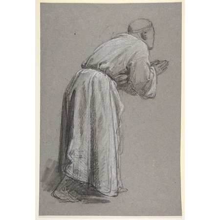Cleric With Joined Hands  Lower Register  Verso  Same Figure   Studies For Wall Paintings In The Chapel Of Saint Remi Sainte Clotilde Paris 1858  Poster Print By Isidore Pils  French Paris 181315   18