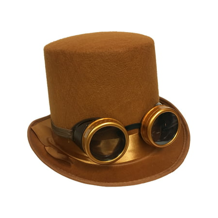 Adults Steampunk Hat And Removable Goggles Costume Accessory Bundle - Steampunk Couple Costumes