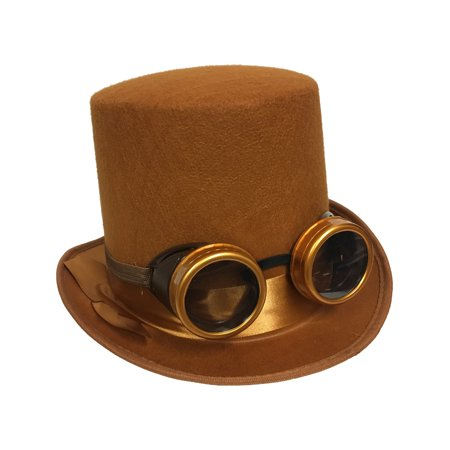 Adults Steampunk Hat And Removable Goggles Costume Accessory Bundle