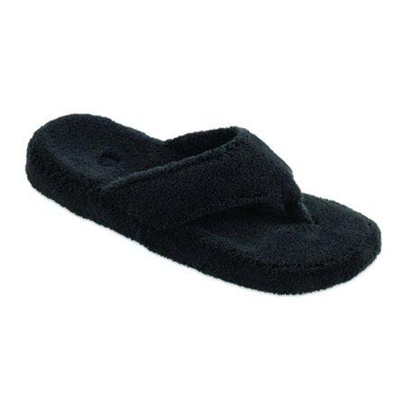Acorn Womens New Spa Thong Slippers - Black - Walmart.com