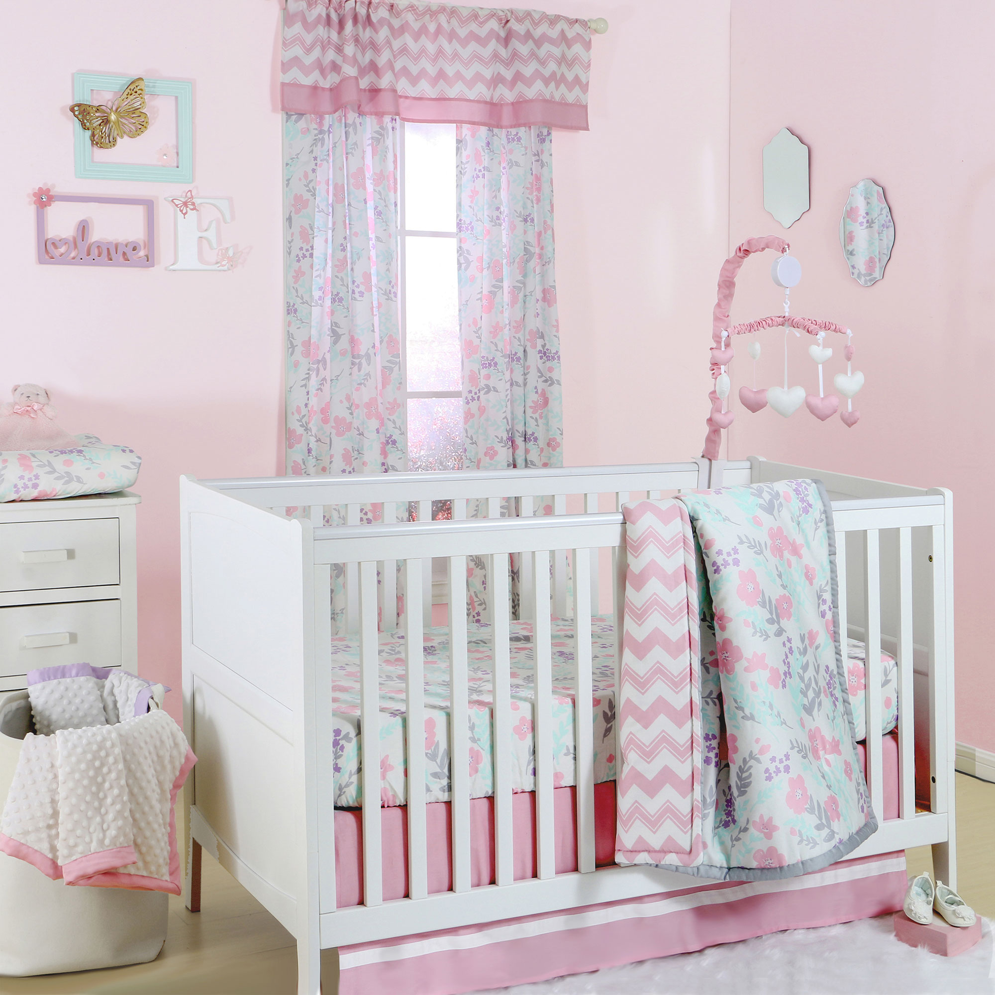 The Peanut Shell 4 Piece Baby Girl Crib Bedding Set Pink And Mint