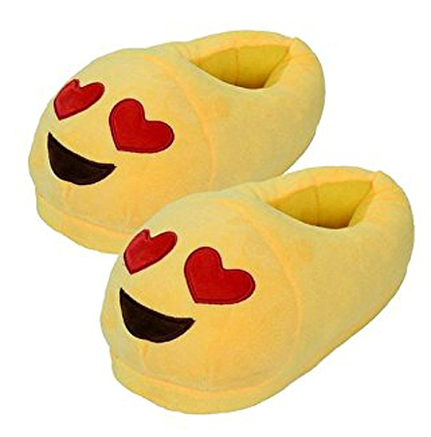 Emoji Red Heart Slippers Plush Cotton Indoor Shoe For Kids & Women Non-Skid Foot pads