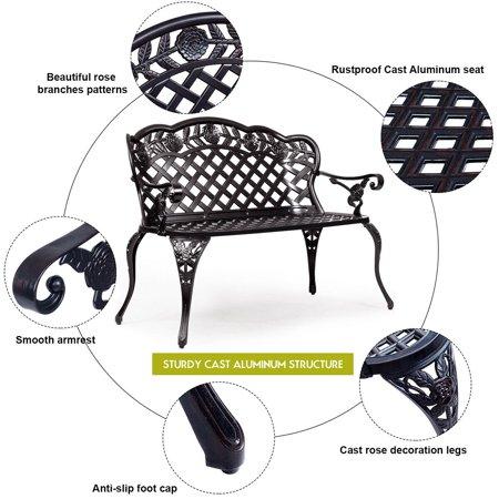 Astounding Gymax Patio Garden Bench Outdoor Furniture Cast Aluminum Antique Rose Design Ibusinesslaw Wood Chair Design Ideas Ibusinesslaworg