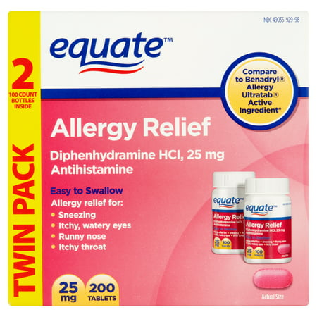 equate Diphenhydramine Hydrochloride antihistaminique Soulagement des allergies 25mg, 200CT