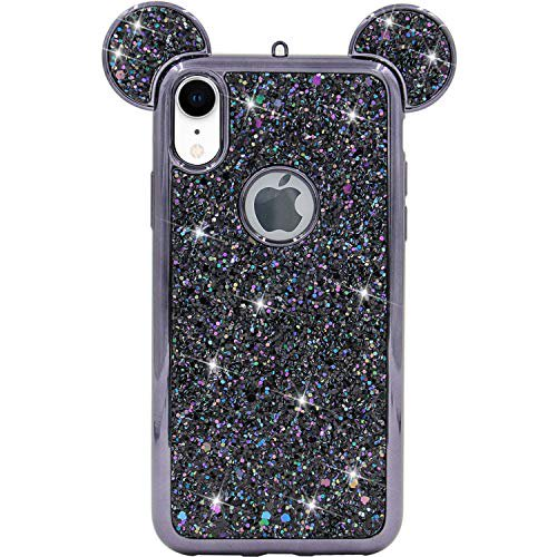 Iphone Xr Case Mc Fashion Cute Sparkly Bling Glitter 3d Mickey Mouse Ears Soft Tpu Rubber Case Teens Girls Women For Apple Iphone Xr 2018 6 1 Inch Black Walmart Com Walmart Com