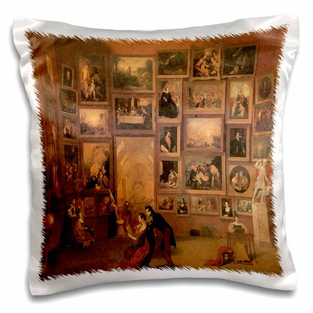 3dRose Gallery of the Louvre by Samuel F.B. Morse American Artist, Pillow Case, 16 by 16-inch